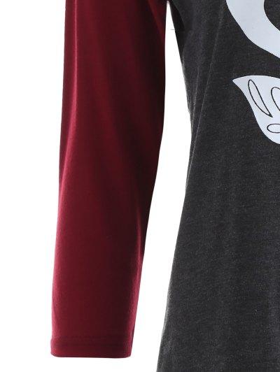 Raglan Sleeve Graphic Christmas Tee - GRAY AND RED M Mobile