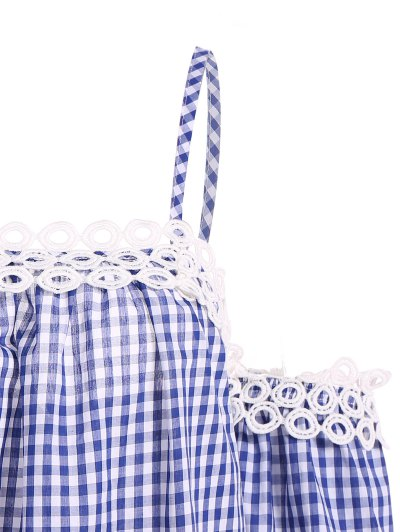 Gingham Check Cold Shoulder Blouse - BLUE AND WHITE XL Mobile