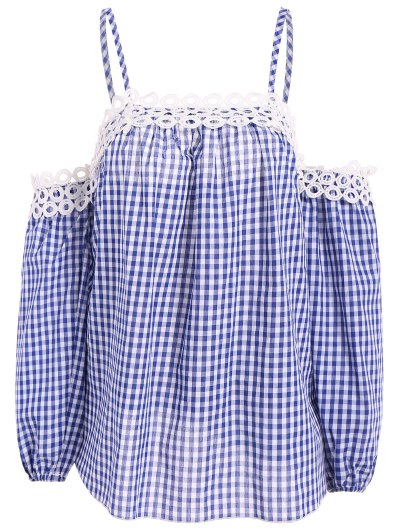 Gingham Check Cold Shoulder Blouse - BLUE AND WHITE L Mobile