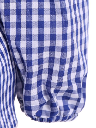 Gingham Check Cold Shoulder Blouse - BLUE AND WHITE M Mobile