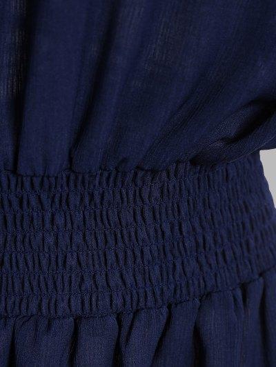 Contrast Lace Off The Shoulder Dress - PURPLISH BLUE XL Mobile