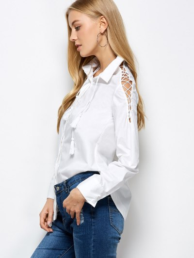 Strappy Sleeve Shirt - WHITE 2XL Mobile