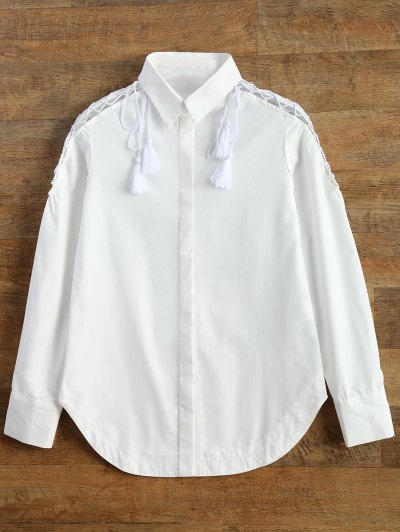 Strappy Sleeve Shirt - WHITE M Mobile