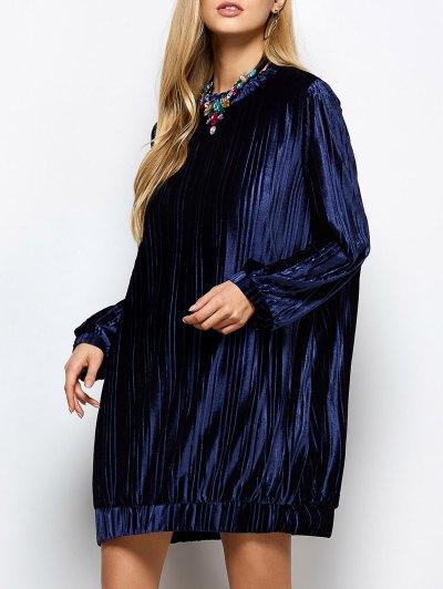 Elastic Hemline Relaxed Velvet Dress - PURPLISH BLUE S Mobile