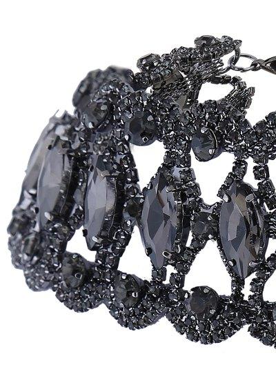 Hollow Out Faux Gem Necklace - BLACK  Mobile