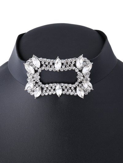 Artificial Leather Rhinestoned Choker Necklace - WHITE  Mobile