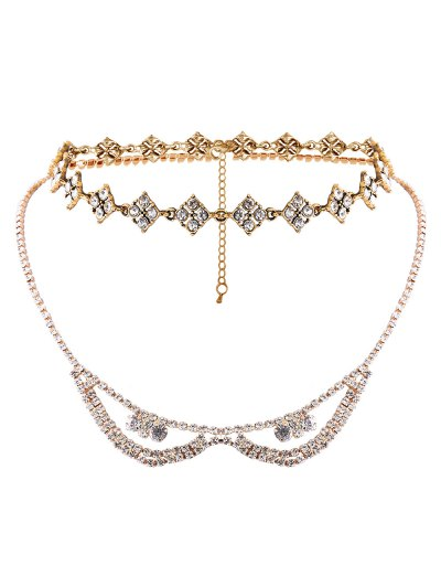 Alloy Rhinestone Layered Necklace - GOLDEN  Mobile
