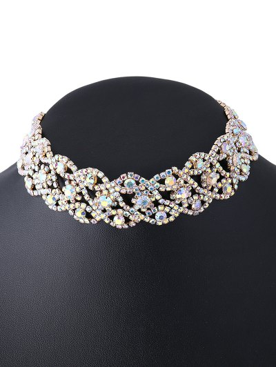 Hollowed Rhinestone Necklace - GOLDEN  Mobile
