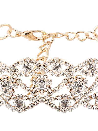 Hollow Out Rhinestone Necklace - GOLDEN  Mobile
