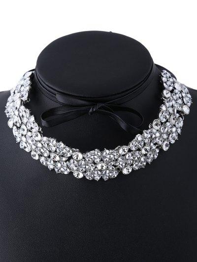 Rhinestoned PU Leather Necklace - WHITE  Mobile