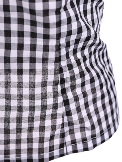 Off The Shoulder Checked Blouse - BLACK 2XL Mobile