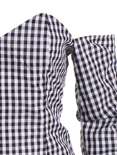Off The Shoulder Checked Blouse - BLACK XL Mobile