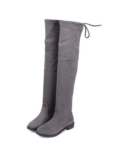 Suede Flat Heel Thigh High Boots - GRAY 37 Mobile