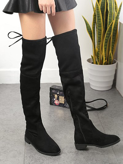 Suede Flat Heel Thigh High Boots - BLACK 38 Mobile