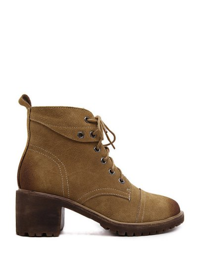 Eyelets Chunky Heel Combat Boots - BROWN 37 Mobile