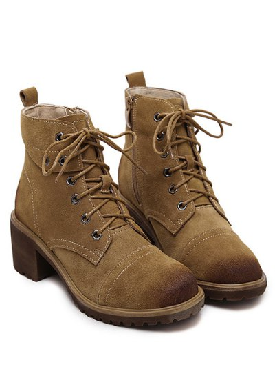 Eyelets Chunky Heel Combat Boots - BROWN 38 Mobile