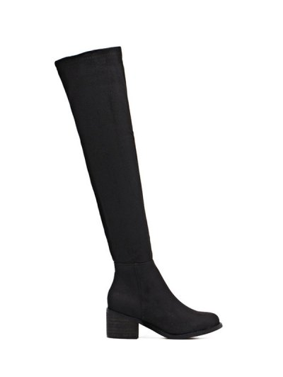 Chunky Heel Thigh High Boots - BLACK 39 Mobile