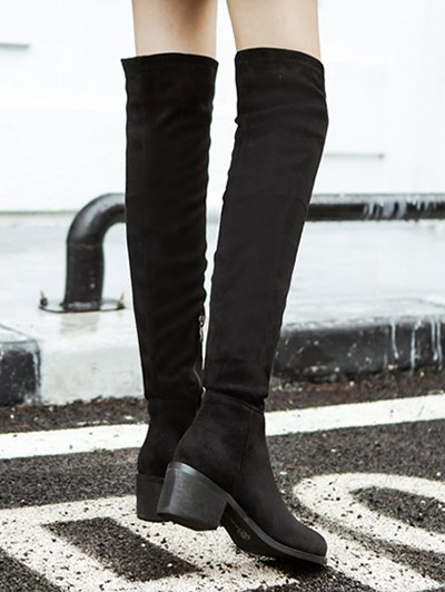 Chunky Heel Thigh High Boots - BLACK 37 Mobile