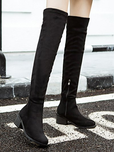 Chunky Heel Thigh High Boots - BLACK 38 Mobile