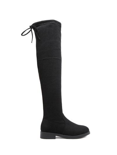 Flat Heel Thigh High Boots - BLACK 37 Mobile