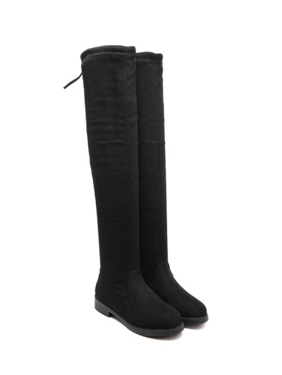 Flat Heel Thigh High Boots - BLACK 38 Mobile