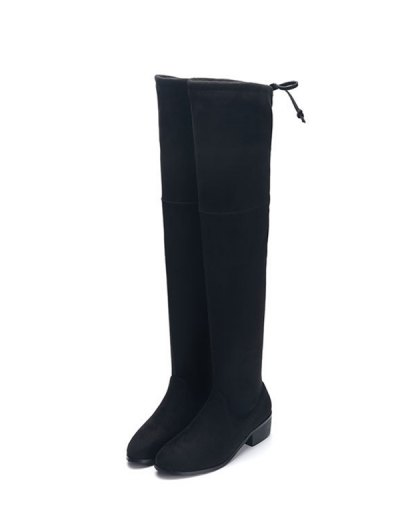 Flock Thigh High Boots - BLACK 38 Mobile
