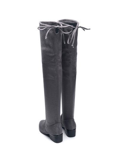 Flock Thigh High Boots - GRAY 40 Mobile