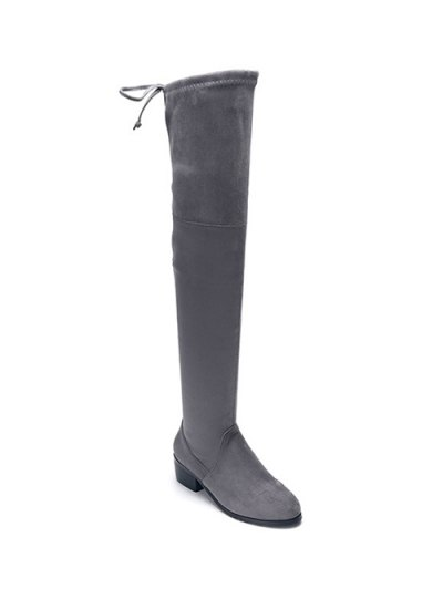 Flock Thigh High Boots - GRAY 37 Mobile