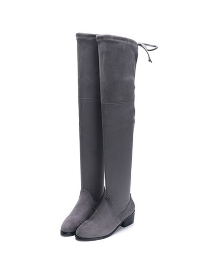 Flock Thigh High Boots - GRAY 38 Mobile