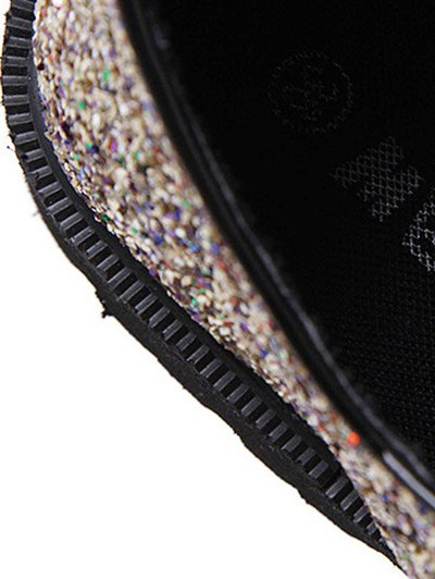 Lace Up Sequins Platform Shoes - GOLDEN 39 Mobile