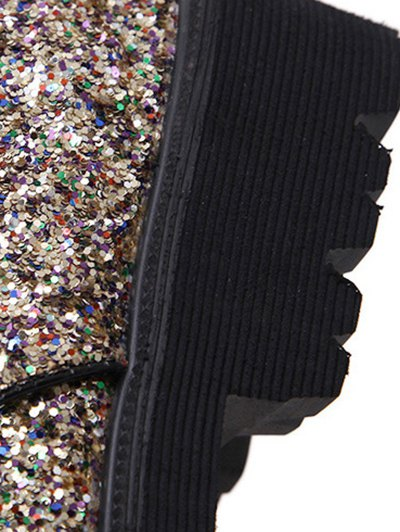 Lace Up Sequins Platform Shoes - GOLDEN 38 Mobile