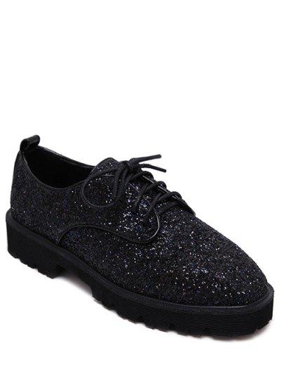 Lace Up Sequins Platform Shoes - BLACK 38 Mobile