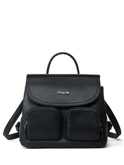 Stitching Pockets Metal Trimmed Backpack - BLACK  Mobile