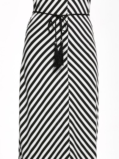 Striped Racerback Maxi Tank Dress - STRIPE S Mobile