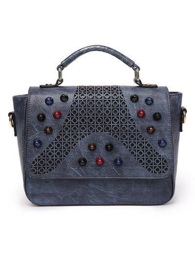 Colored Rivet Cut Out Handbag - GRAY  Mobile