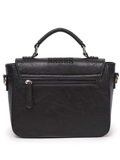 Colored Rivet Cut Out Handbag - BLACK  Mobile