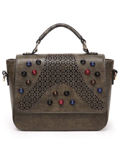 Colored Rivet Cut Out Handbag - KHAKI  Mobile