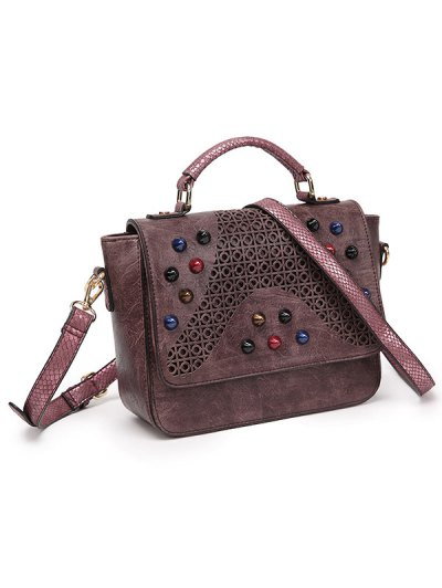 Colored Rivet Cut Out Handbag - DARK RED  Mobile