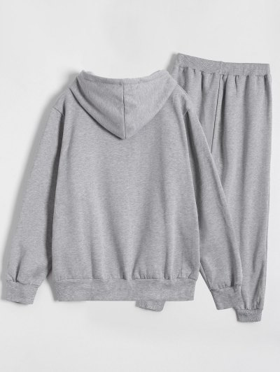 Printed Sports Hoodie and Gym Pencil Pants - GRAY 5XL Mobile