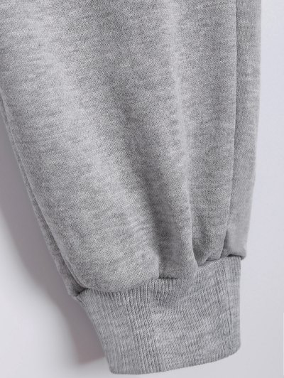 Printed Sports Hoodie and Gym Pencil Pants - GRAY 2XL Mobile