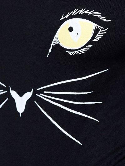 Long Sleeve Cat Print Bodysuit - BLACK XL Mobile