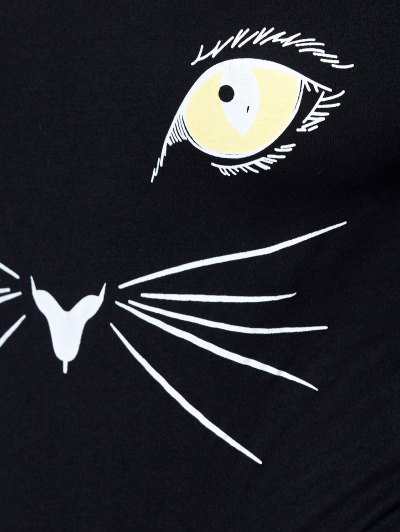 Long Sleeve Cat Print Bodysuit - BLACK L Mobile