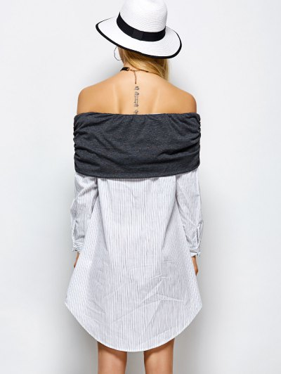 Off The Shoulder Casual Dress - WHITE M Mobile