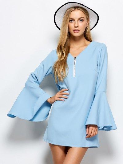 Flare Sleeve Fitting Mini Dress - LIGHT BLUE 2XL Mobile