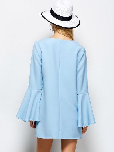Flare Sleeve Fitting Mini Dress - LIGHT BLUE XL Mobile