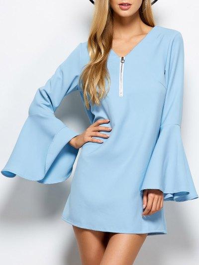 Flare Sleeve Fitting Mini Dress - LIGHT BLUE L Mobile