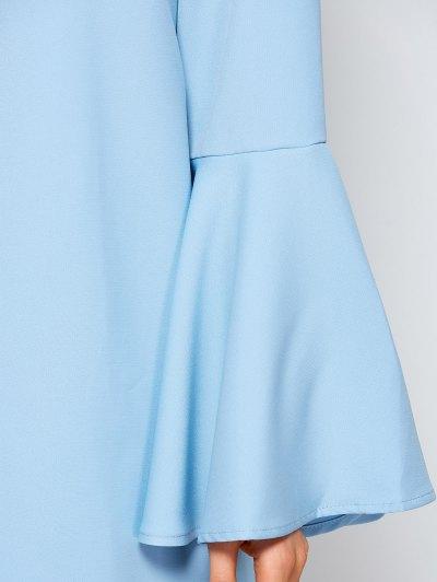 Flare Sleeve Fitting Mini Dress - LIGHT BLUE M Mobile