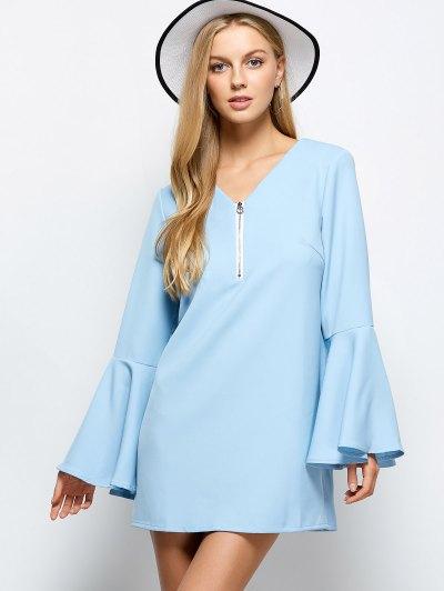 Flare Sleeve Fitting Mini Dress - LIGHT BLUE S Mobile