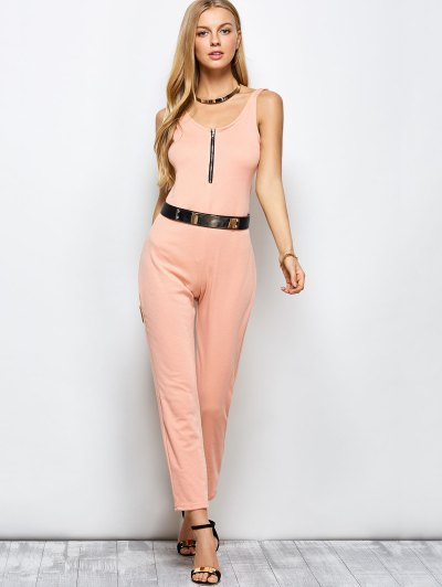 Half Zip Straight Jumpsuit - PINK 2XL Mobile