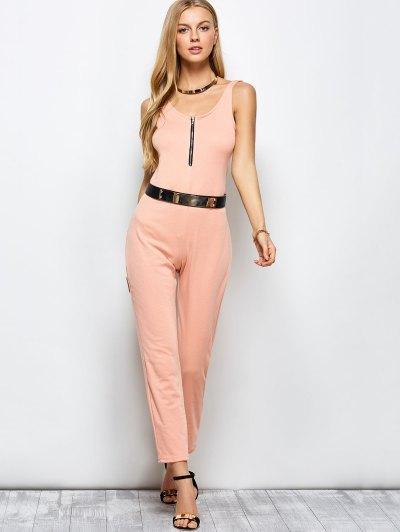 Half Zip Straight Jumpsuit - PINK XL Mobile
